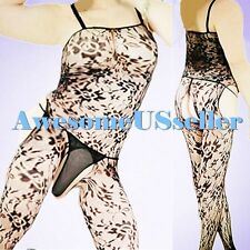 MEN MALE XS-3XL Sexy PLUS SIZE Big Fishnet CROTCHLESS Body Stocking Lingerie#383