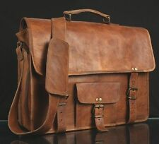 "15"" Men's womens Genuine Leather Messenger Satchel Macbook laptop strap bag gift"