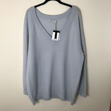 T BY ALEXANDER WANG Cashmere Wool Oversized Deep V-Neck Sweater Blue Size L NWT
