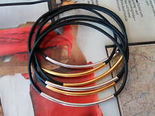 BANGLES Black LEATHER BRACELET Silver and Gold tubes