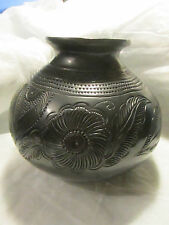 Mexican Black Clay Pottery OAXACA Engraved Flowers Rounded Bottom  6x6.5""