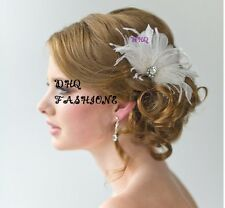 White Feather Flapper Big Diamante Flower Clip  Fascinator Hairdress Bridal WED