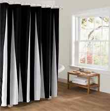 Vintage Black & White Stripes Fabric Shower Curtain 177*180 Waterproof Bathroom