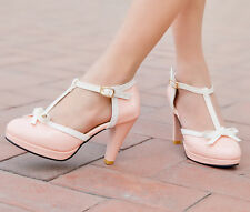Womens Pumps High Heels T-Strap Vintage Mary Janes Buckle Bowknot Lolita Shoes