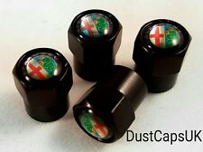 ALFA ROMEO Black Wheel Tyre Valve Dust Caps MiTO Brera Giulietta GTV Cover Set 4