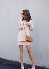 US SELLER Shein Sheinside Cupshe Long Sleeve Lace Dress Cream Tan - Size M