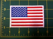 AMERICAN FLAG EMBROIDERED PATCH  WHITE BORDER US UNITED STATES SHOULDER