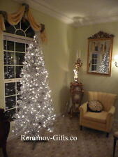 SILVER Slim Pre-Lit Clear Lights Christmas Tree 7 Ft Tall Mid Century Modern
