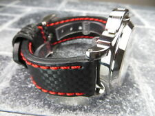 New CARBON Fiber 22mm LEATHER STRAP Band Black with Red Stitch OMEGA 22 Pilot