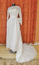 Vtg 50s 60s Makoff Embroidered Organza Train maxi Wedding DRESS Bridal GOWN