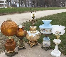 Set Of 5 Vintage Hand Painted Victorian GWTW Parlor Style 3 Way Hurricane Lamps