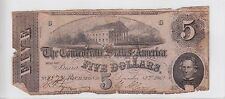 December 2nd, 1862 Confederate States of America $5 Note T53 Cr#380 8578