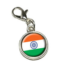 India Indian Flag - Antiqued Bracelet Pendant Charm with Lobster Clasp