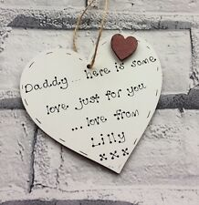 Christmas/birthday gift for Daddy/Dad- personalised handmade wooden heart
