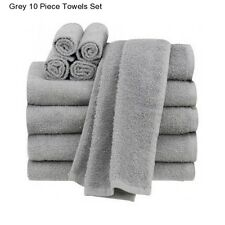 New Grey Cotton 10 Piece Bath Towel Set Washcloth Bathing Bathroom Hand Towels