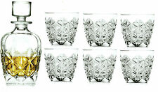 Rcr Crystal 7 Piece Whisky Glass Gift Set 1 Decanter & 6 Matching Whisky Tumbler