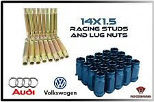 Audi & Volkswagen Racing Stud Conversion 14x1.5 Thread Pitch Blue Lug Nuts