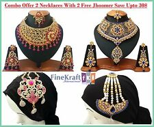 Handmade Designer Combo Offer Gold Plated Zerconic Kundan Necklace sets Jhoomers