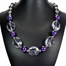 Purple Fire Crystal & Glass Pearl Necklace Handcrafted Jewellery UK Gift Idea