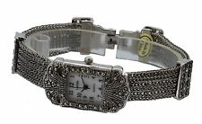Vintage Bracelet Marcasite Antique Lady Special Occasion Rectangular  Watch