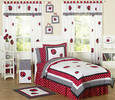 Sweet Jojo Designs Cheap Red White Lady Bug Polka Dot Kid Twin Girls Bedding Set