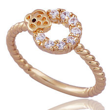 Womens Crystal Open circles rings Yellow Gold Filled Rope Wedding Rings Size 8