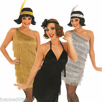 SEXY CHARLESTON FLAPPER FRINGED GATSBY LADIES FANCY DRESS COSTUME 1920s 20s 30s