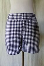 CASLON Nordstrom Blue and white Gingham flat front walking shorts Sz 2 NEW NWOT