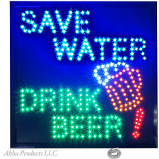 """Large 19x19"""" Save Water Drink Beer Wine Brewery LED Open Bar Pub Shop Sign neon"""