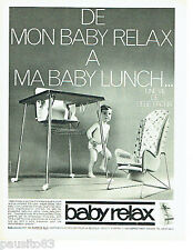 PUBLICITE ADVERTISING 076  1966  Baby-Relax  sièges bébé Baby lunch