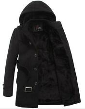 New Winter Men's Woolen Trench Coats Cold Westher Fleece Jackets Black  Asian4XL