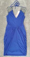 Bnwt��Lipsy��Size 8 Cobalt Blue Embellished Shoulder Dress,Party Drape Skirt New