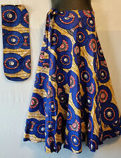 Wax Fabric Cloth wrap around Skirt Maxi African Vintage 70s Free size Print #18