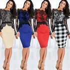 Women Celeb Floral Lace Evening Party Wedding Pencil Midi Bodycon Dress Size8-18