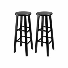 Winsome Obsidian 30 in. Square Leg Bar Stools - - Set of 2, Black, 2