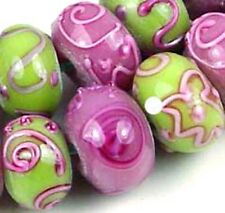 Lampwork Glass Pink Green Blossom Rondell Beads (12)