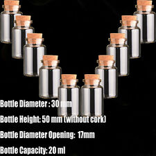 10pcs Glass Bottles with Corks 20ml clear Vials with Cork Little empty jars30*50