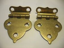 "Vintage NOS Solid BRASS Victorian Hoosier Cabinet Door HINGES 1/2"" Offset"