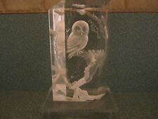 1988 Vintage Owl Figurine Statue Clear Acrylic Signed Alex Beall