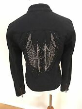 Harley Davidson Black Full Zip Wing Stud Motorcycle Jacket Women's XS