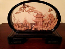 Vintage Fujian China Hand-Carved Cork Diorama - Black Lacquer Case