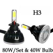 80W H3 8000LM 6000K White Fog Light Conversion Replacement LED Bulbs Lamp Kit H