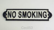 NO SMOKING CAST IRON SIGN HANGS ON WALL- NICE FOR HOME OR BUSINESS - SHIPS FREE