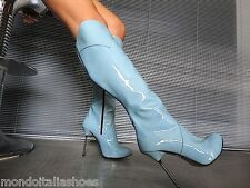MORI ITALY KNEE HEELS BOOTS STIEFEL STIVALI PATENT LEATHER BLUE SKY BLU BLAU 40