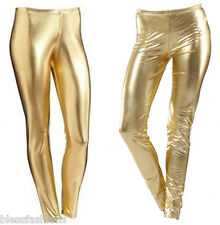 WOMENS WET LOOK METALLIC LEGGINGS LADIES SHINY PLUS SIZE 18 20 22 24 26 XXL XXXL
