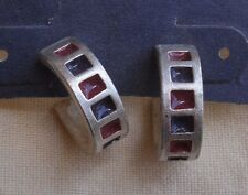Hoop Style Silver Earrings,enameled square design -tribal,native,wide,post back