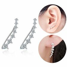 Sterling Silver 925 Large Statement Crystal Ear Climber Crawler Cuff Earrings