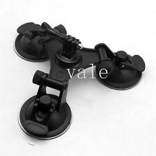 Glass Strong Triple Suction Cup Mount+Tripod Adapter+Screw Thumb For Gopro Hero
