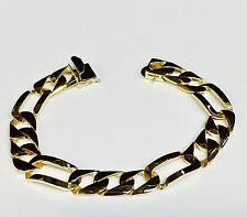"10k solid Yellow gold handmade Figaro Curb link mens bracelet 8.5"" 32 grams 12MM"