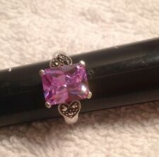 Sterling Silver and Faux Amethyst Ring with Marcasite Heart Accents-Signed D